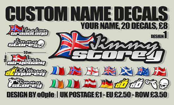 Rc car name stickers custom sticker custom vinyl decals for rc carsshado graphic design and